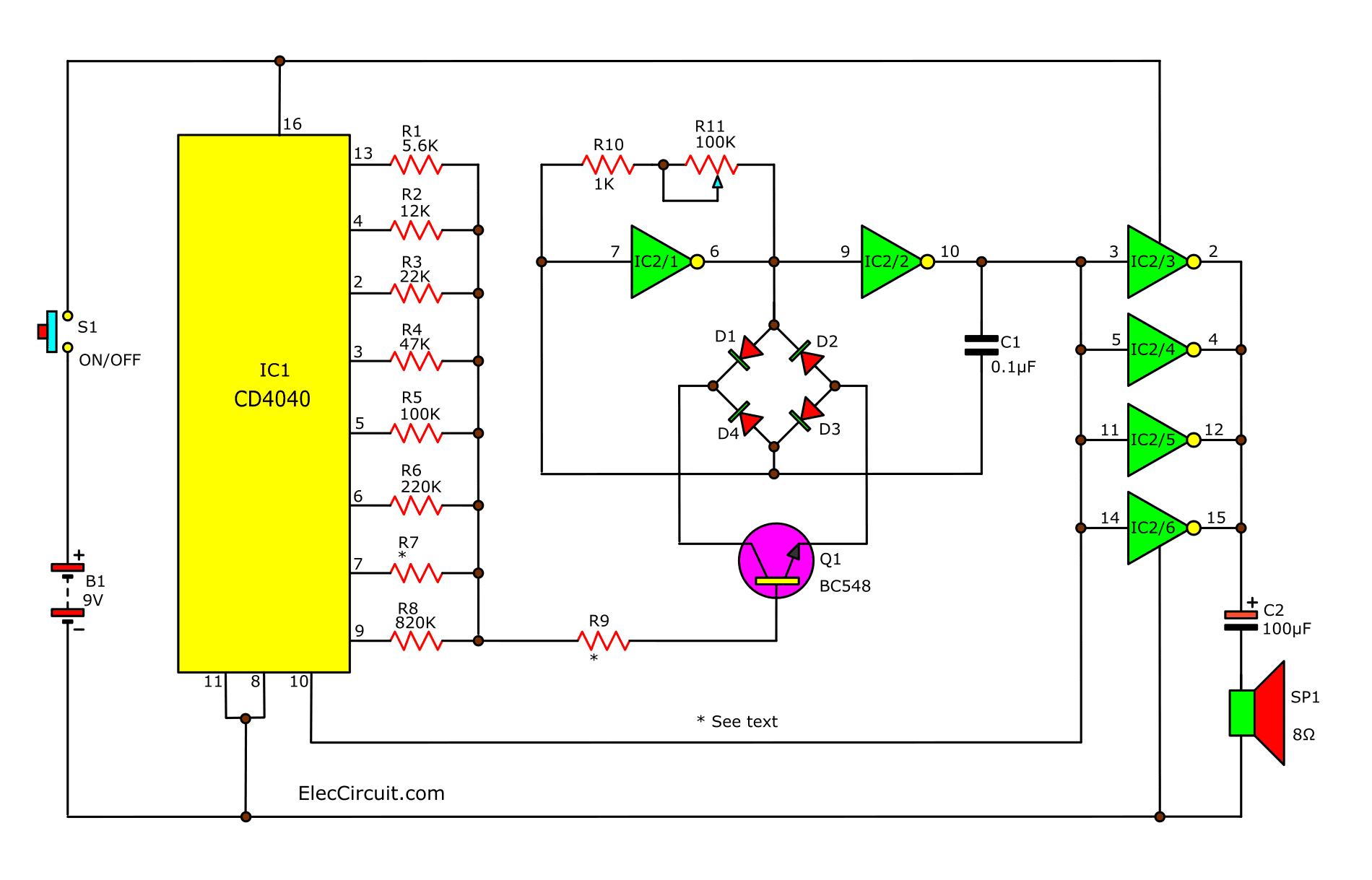 Over 200 Mini Projects Ideas For You Electronics Circuits Transistor Intercom Circuit Electronic And Diagram The Sound Effect Generator Using Cd4040 Cmos Amplifiers