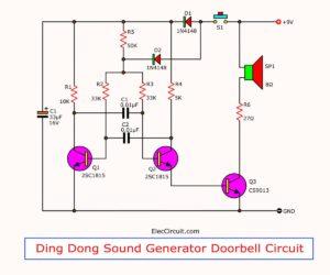 Ding Dong sound generator doorbell circuit using transistors