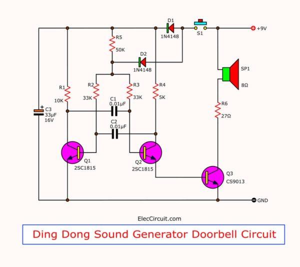 the-circuit-diagram-of-the-two-tone-door-buzzer-using-transistors
