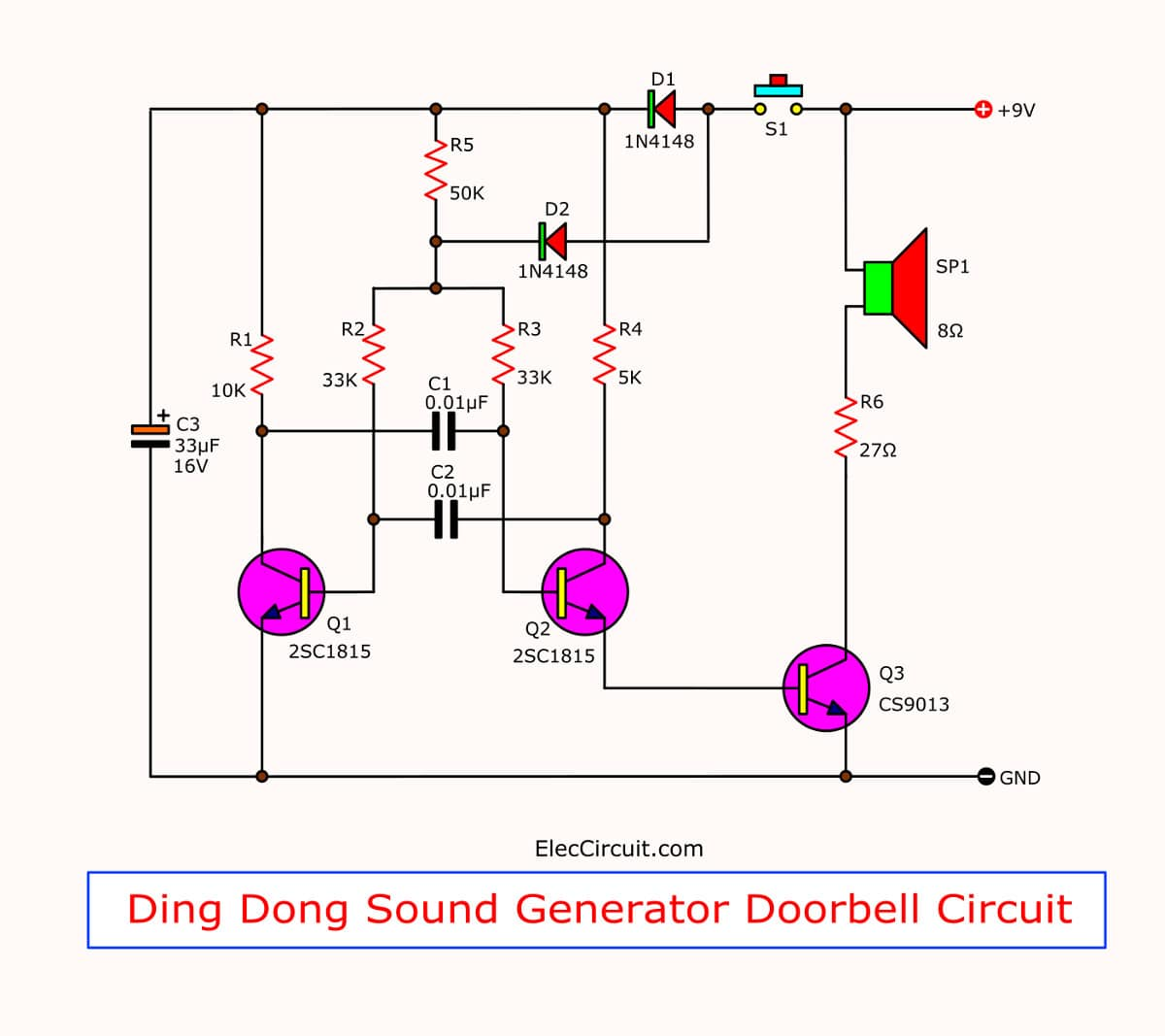 Ding Dong sound generator doorbell circuit using transistors