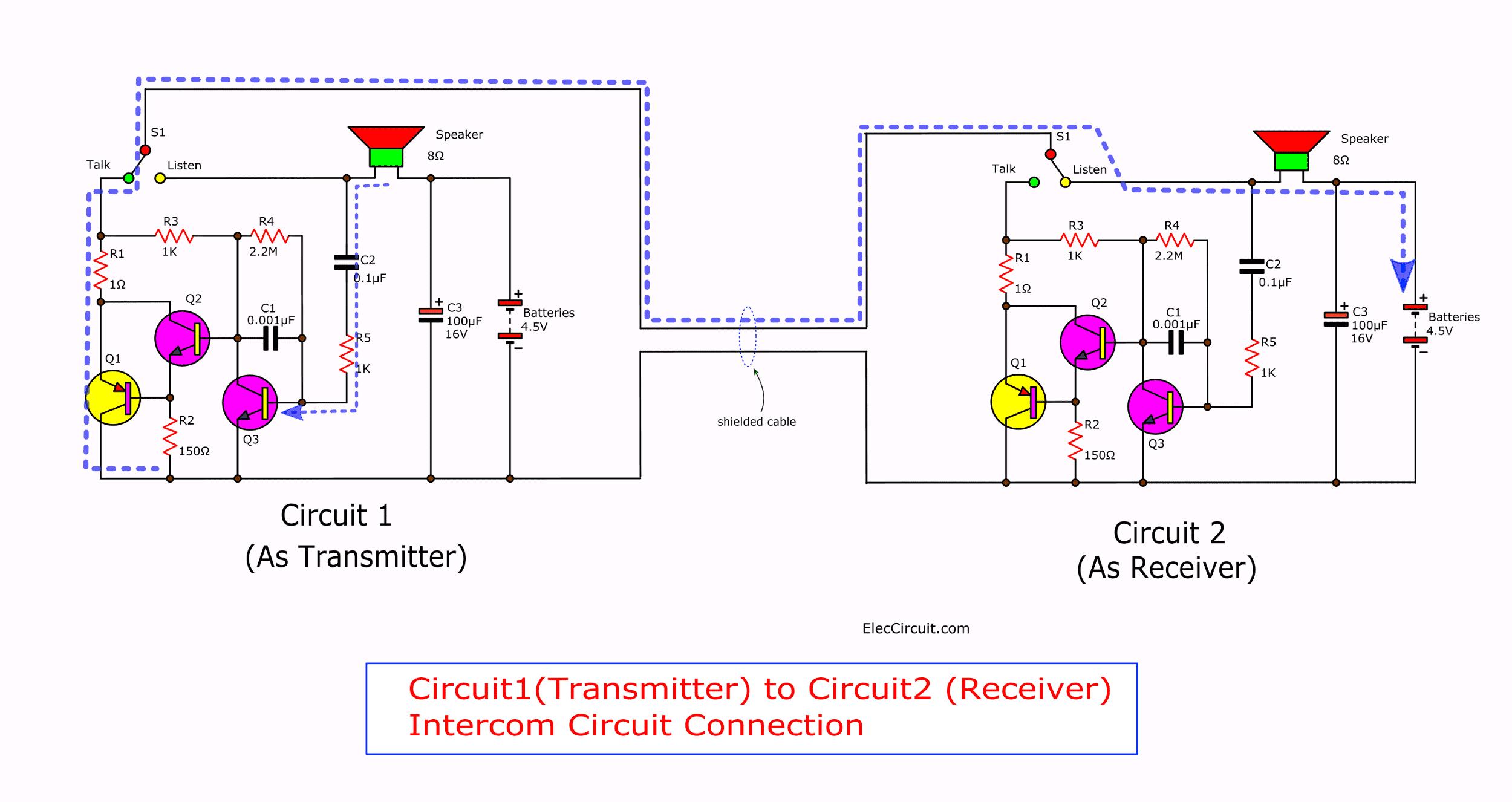 Simple transistor intercom circuit | Electronics Projects ...