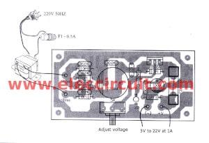 components layout 7805 adjustable regulator