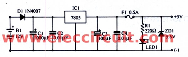2-12Vdc-to-5vdc-regulated-circuit-using-ic-7805