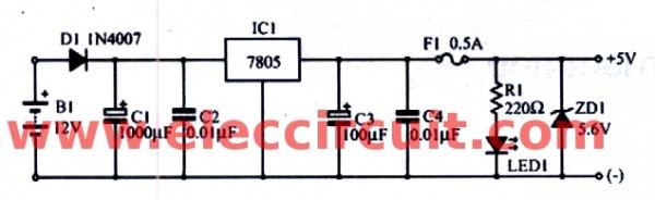 2-12Vdc-to-5vdc-regulated-circuit-using-ic-7805