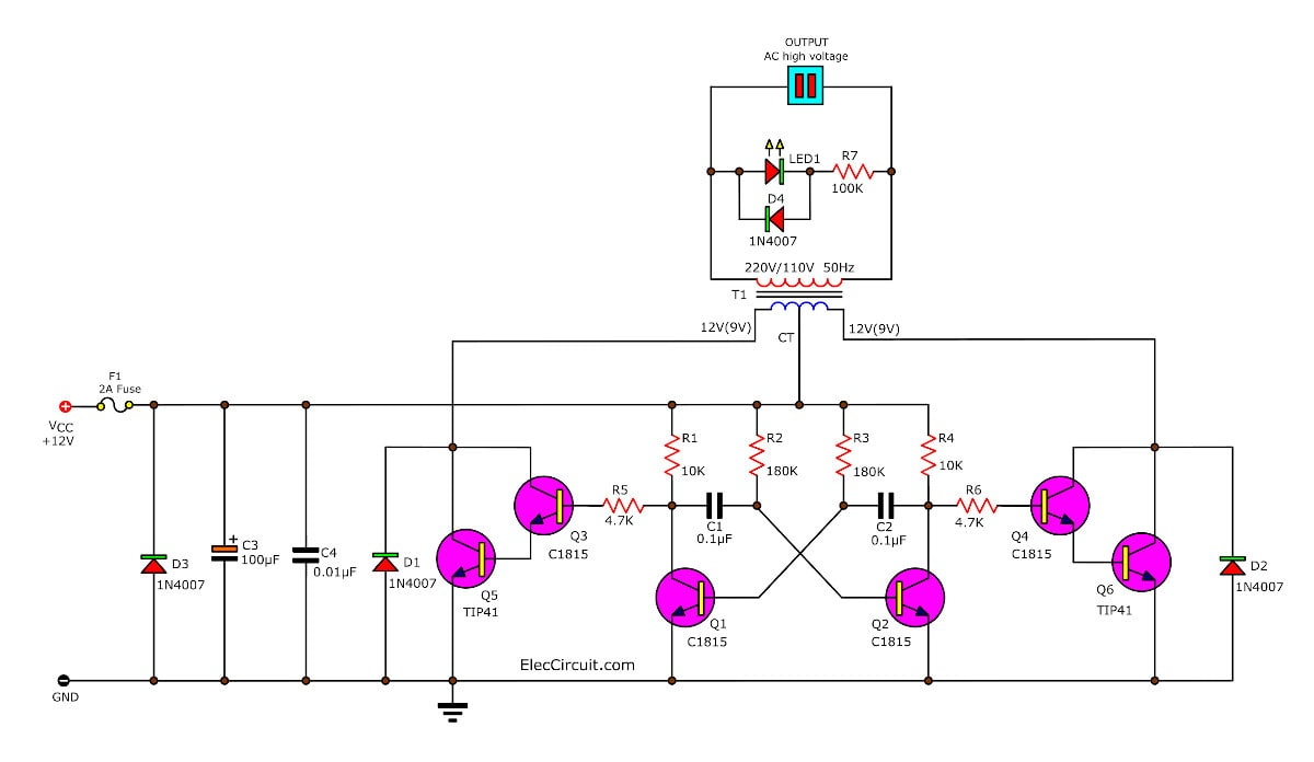 simple inverter circuit using  transistor, wiring diagram