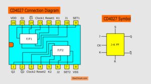CD4027 pinout and symbol circuit
