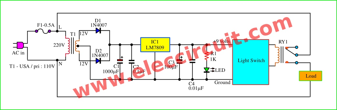 2 Block diagram and 9 volts DC regulation of daylight sensor switch circuit. daylight sensor switch circuit,control artificial waterfall dc light wiring diagram at bayanpartner.co