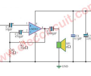 LM383 Amplifier circuit, 5.5W, 7W and 16W bridge amplifier