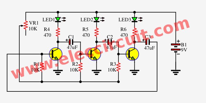 3 Led Flasher Circuit By 3 Transistors Astable Multivibrator