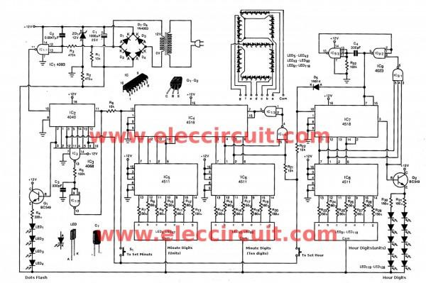 big digital clock circuit without microcontroller - eleccircuit 7 segment clock circuit diagram  eleccircuit.com