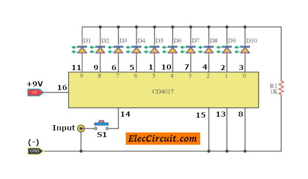 10 LED Flashing using CD4017