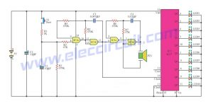 The 10 LED roulette circuit using IC-4017 and IC-4011