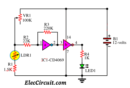 Automatic led night light switch | ElecCircuit.com