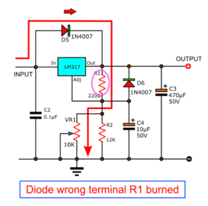 Diode wrong terminal, R1 burned