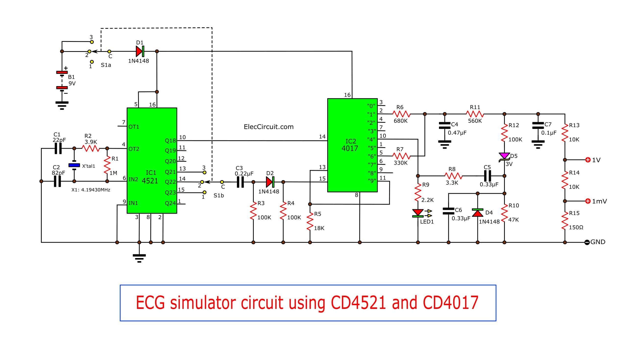 ecg simulator circuit using cd4521 and cd4017 eleccircuit ecg simulator circuit