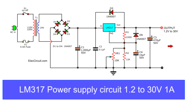my first variable power supply using lm317 eleccircuitcircuit diagram of my first variable dc power supply 1 25v to 30v at 1a using · calculate the lm317 output voltage