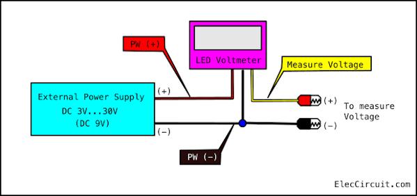 Diy digital voltmeter panel meter 0-50V - ElecCircuit.com on