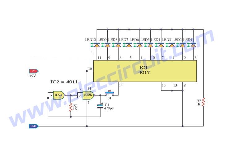 Random Number Generator circuit using IC-4017 and IC-4011