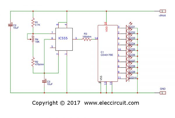 Circle LED chaser circuit
