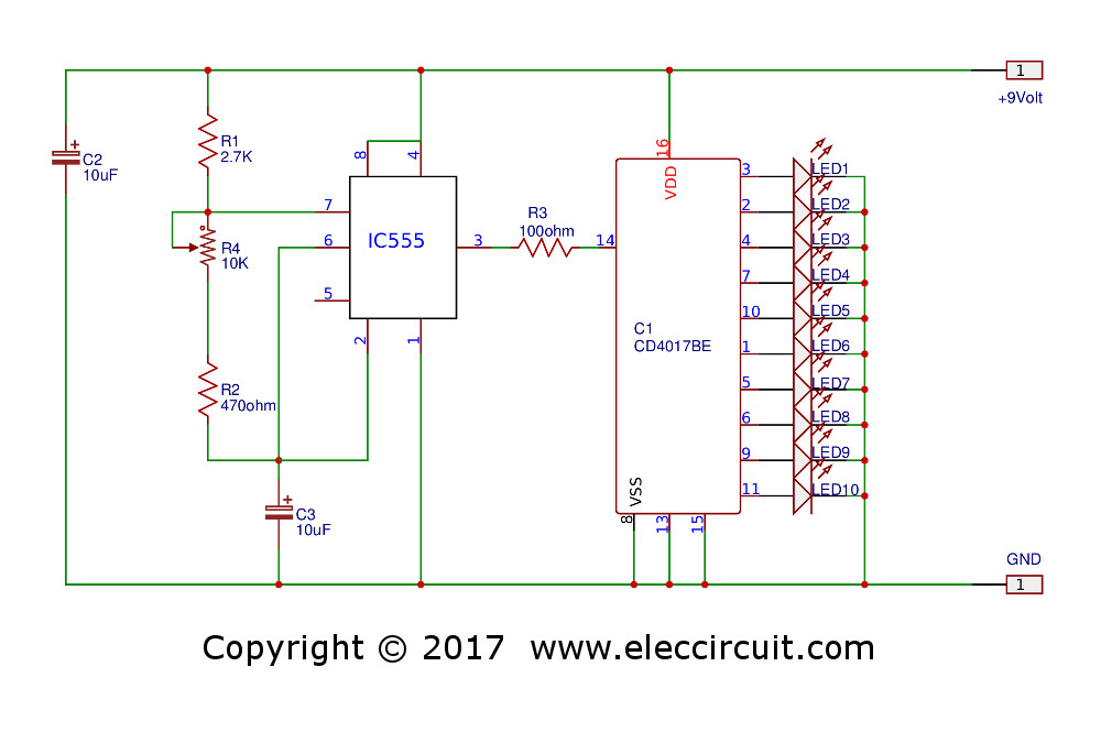 led chaser circuit using ic4017 and ic555
