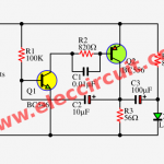 1.5V LED flasher using BC556 and BC546