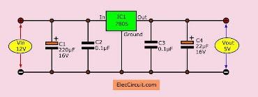 12V to 5V converter 1A using 7805