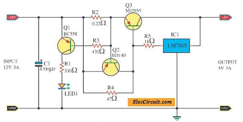 12v To 5v Converter Step Down 3a Regulator Eleccircuit Com