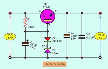 5V 1A transistor Regulator