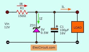 12V to 5V using zener voltage regulator