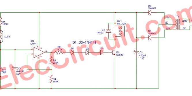 Automatic Op-amp night light circuit using IC-741