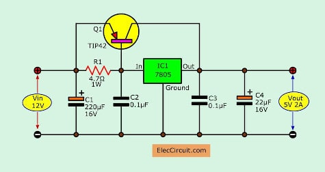 higher current using PNP transistor for 7805