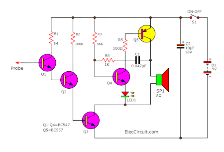 Simple non-contact voltage tester using transistors