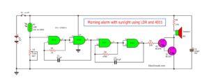 Morning sun alarm circuit using IC-4011