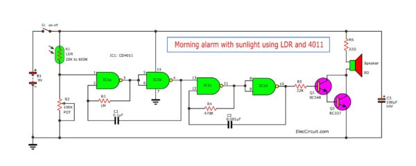 Morning alarm with sunlight using LDR and 4011