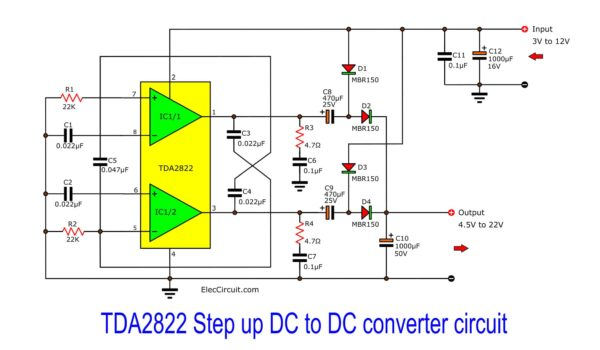 TDA2822 Step up DC to DC converter circuit
