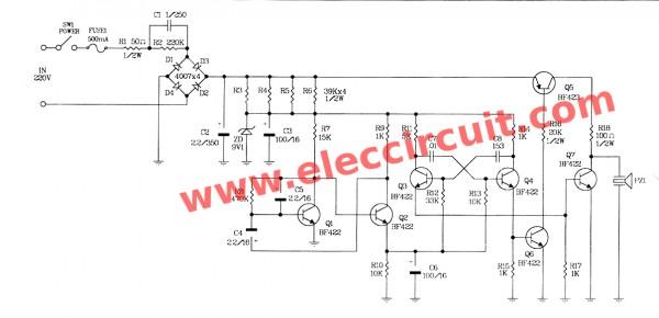 220v ac siren circuit