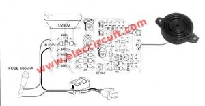 AC 220V siren circuit using transistors