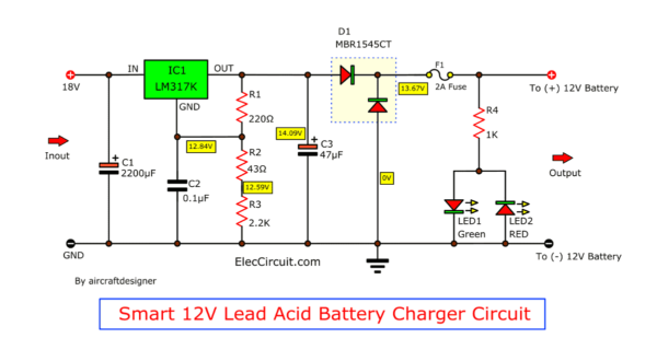 12V lead acid battery charger using lm317k