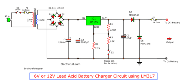 6V or 12V Lead Acid battery charger using LM317