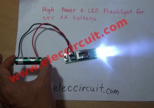 High power LED flashlight circuit, 6 LED  for 1.5V AA battery