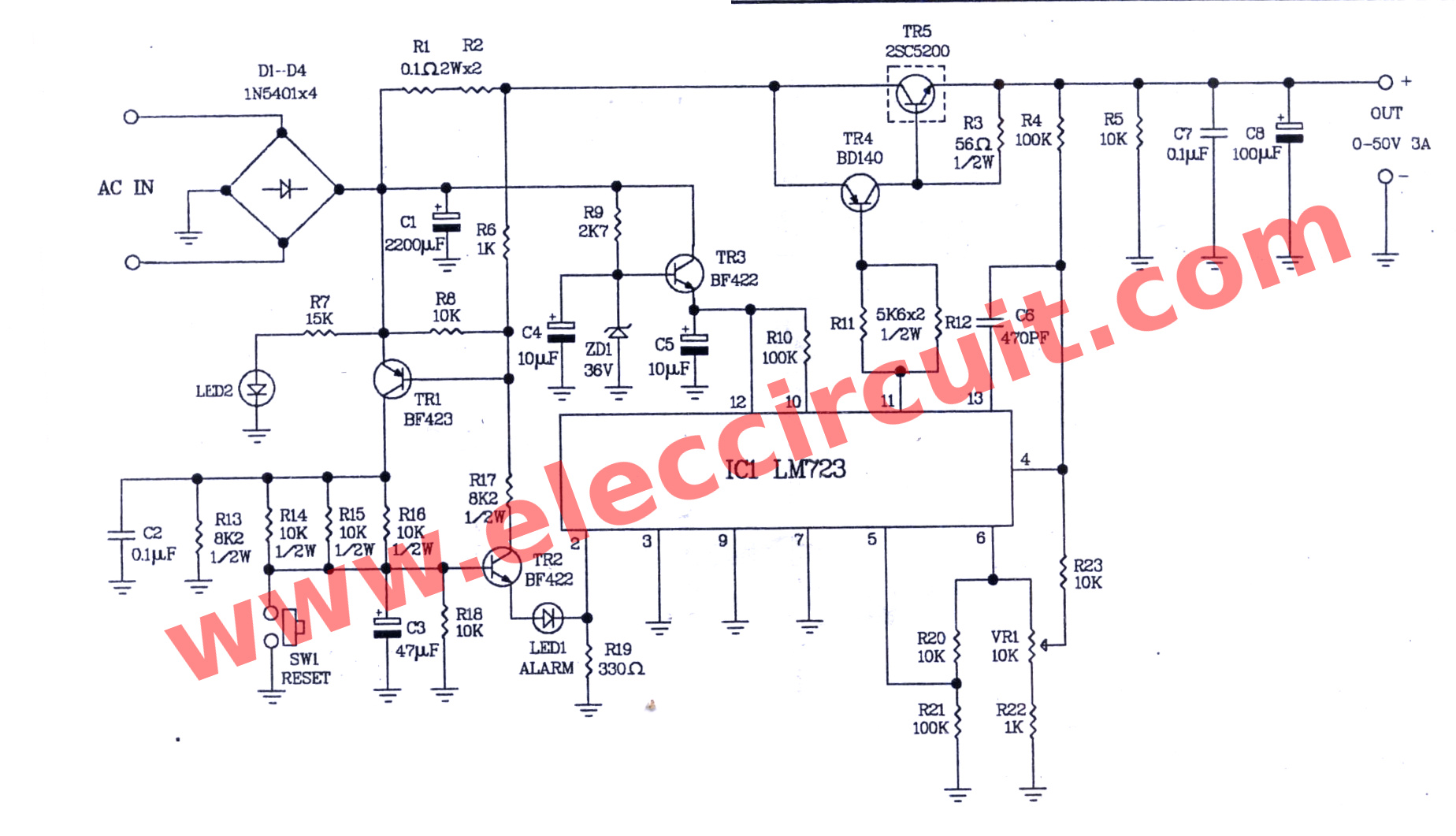 0 50v Variable Power Supply Circuit At 3a