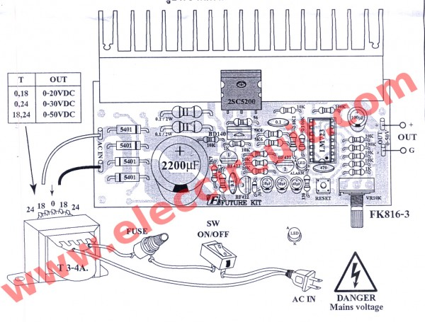 0-50V 3A variable power supply