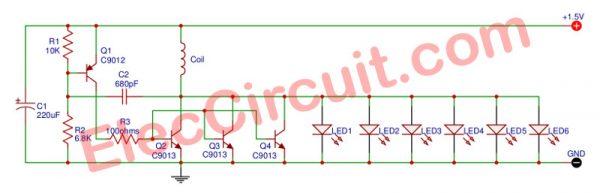 High power LED flashlight circuit, 6 LED for 1.5V AA battery