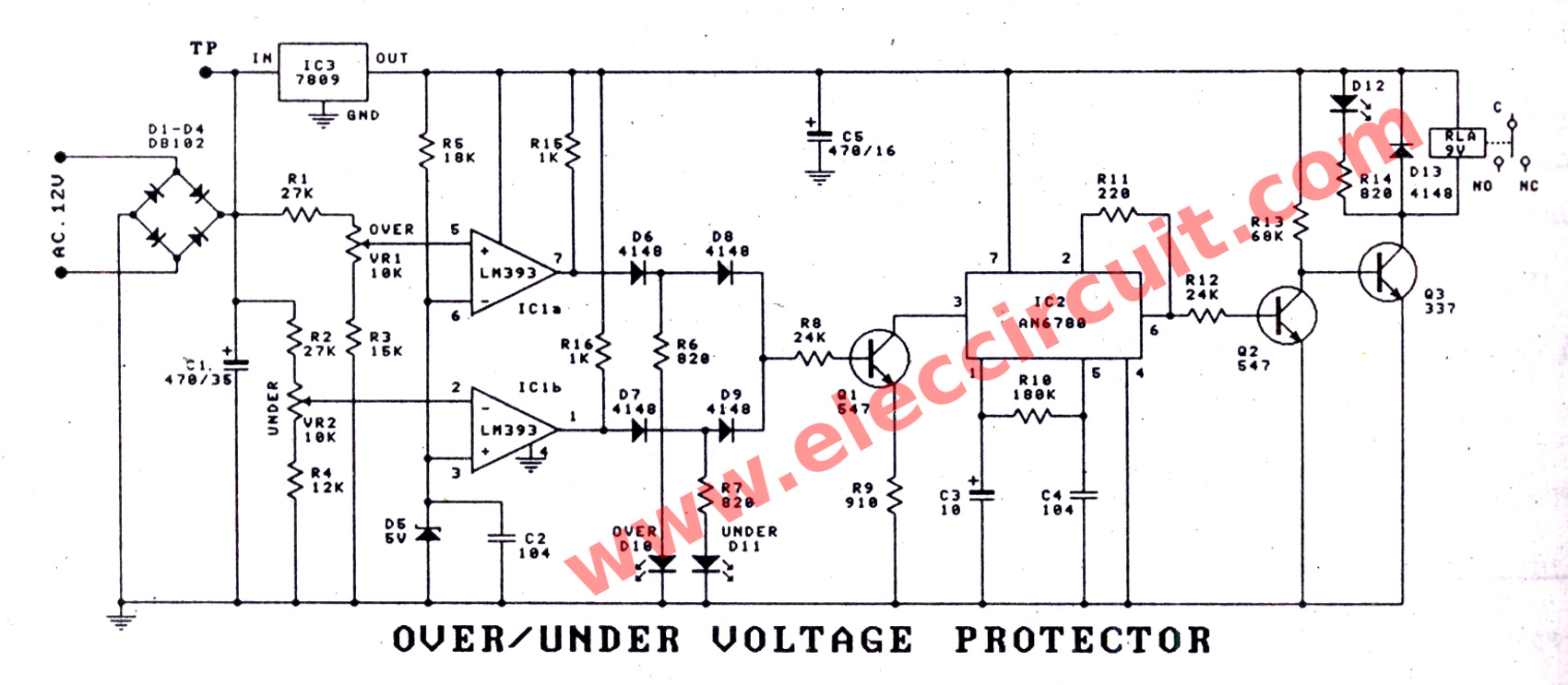 Over Under Voltage Protection Circuit Transformerless Power Supply Eleccircuitcom 0ver Protector Using Lm393