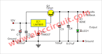 12v To 5v Voltage Regulator 1 5a Using 7805