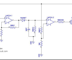 Simple Sound detector circuit using LM324