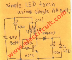 Simple 1.5V LED flashlight or torch circuit