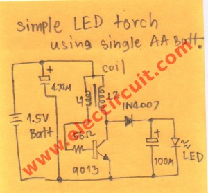Simple LED torch using single AA 1.5V Battery