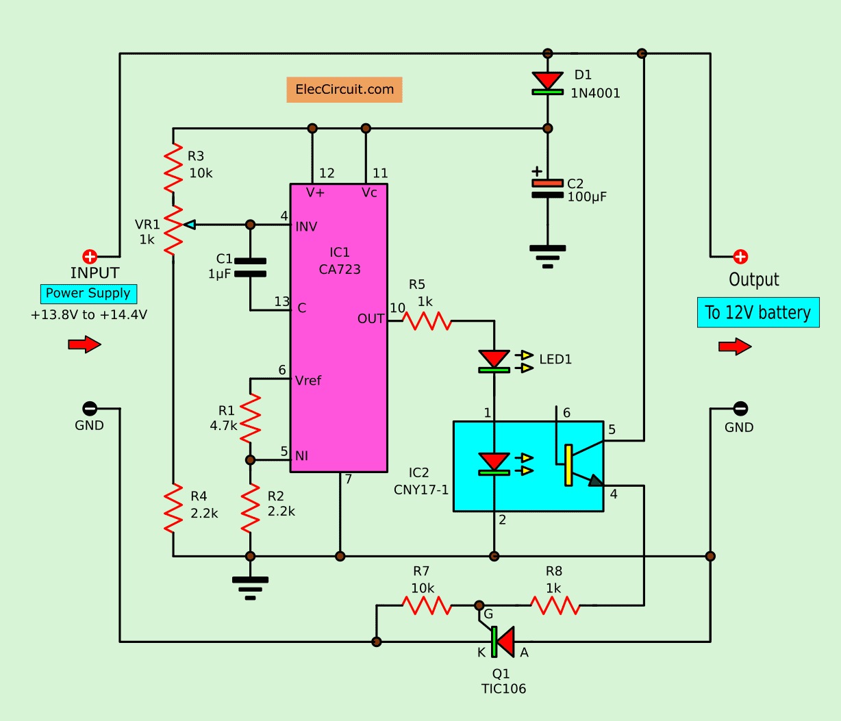 convert power supply to battery charger eleccircuit