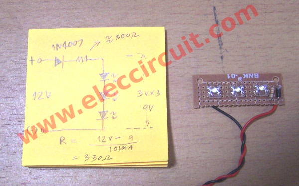 diy simple 12v led light eleccircuit com rh eleccircuit com 12 volt dc led circuit diagram 12 volt led circuit diagram